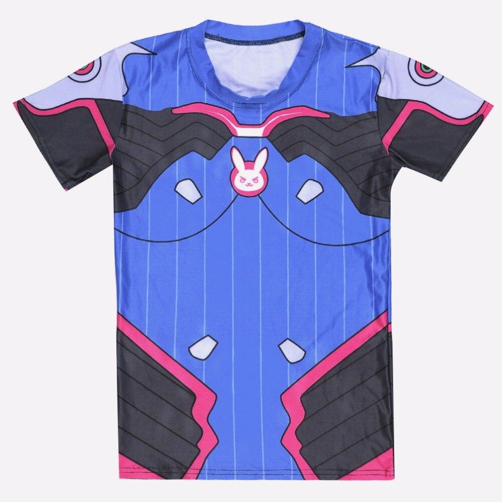 New Cosplay Short Sleeve T-shirt Game OW D.VA Super Cool Women Tee Top