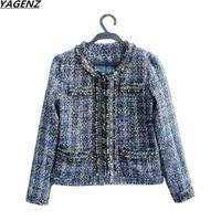 2017 Women Basic Coats Fashion Elegant Bead Vintage Coarse Tweed Winter Casual Woolen Overcoat Coat Winter Jacket Women YAGENZ