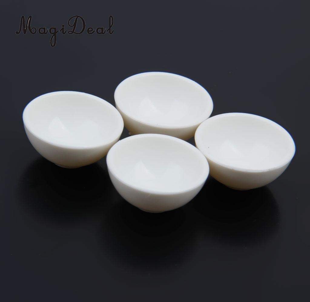 MagiDeal Mini 4Pcs/Lot Dollhouse Miniature White Round Rice Bowls Tableware Kitchenware For Food Rice Child Pretend Play Toys
