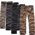 2016 новый хлопок большой ярдов прямые брюки хлопчатобумажные комбинезоны талии упругой микро карман