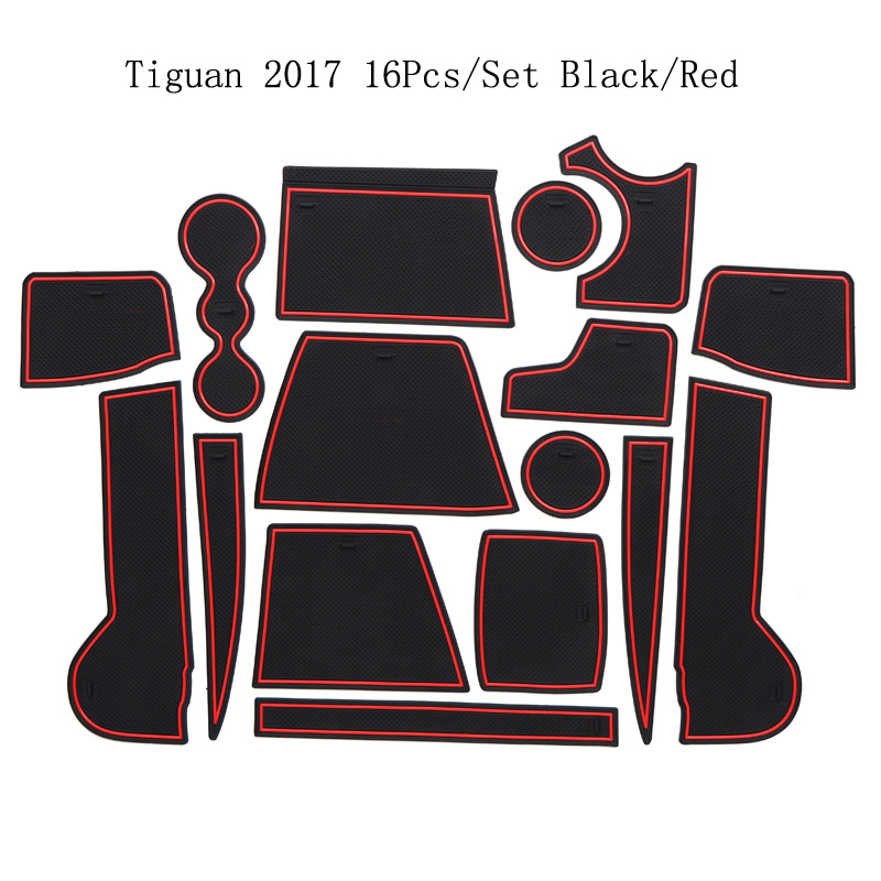 For 2017 Volkswagen Tiguan Rubber Door Mat Anti-Slip Cup Pad Interior Decoration Accessory Styling Gate Slot Pad