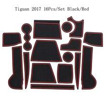 Per il 2017 Volkswagen Tiguan Sportello di Gomma Zerbino Antiscivolo Rilievo della Tazza di Decorazione di Interni Accessorio di Stile Fessura del Cancello Pad