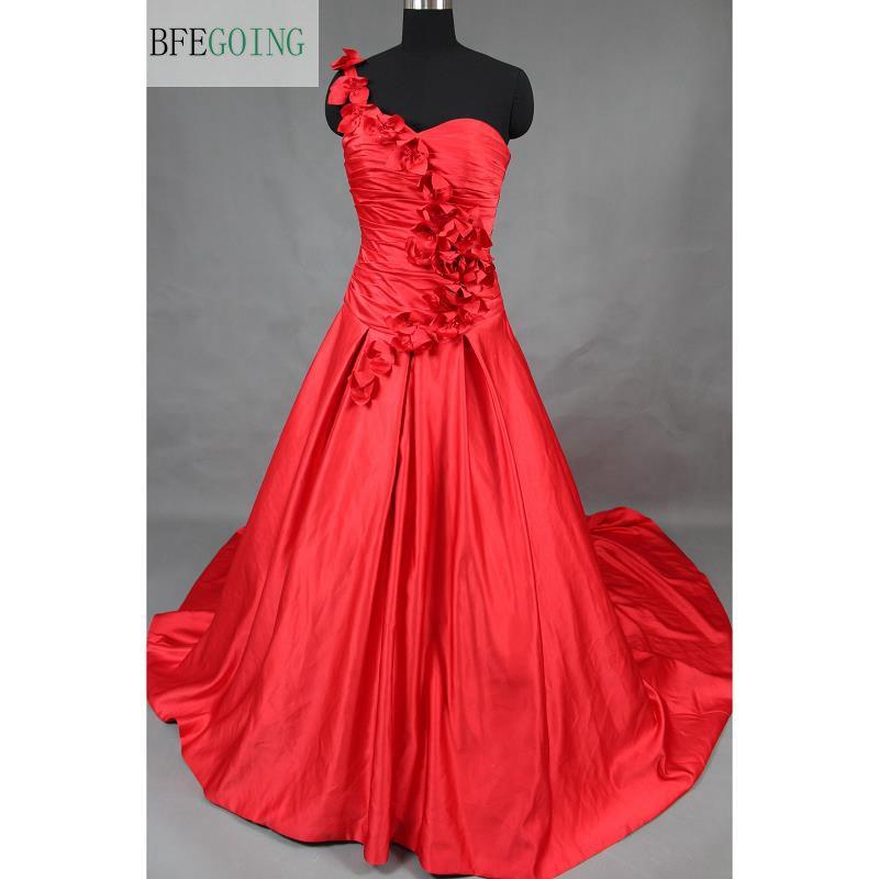 Soft Satin A-line Wedding Dresses Chapel Train One -Shoulder Sleeveless  Sweetheart  Real/Original Photos Custom Made