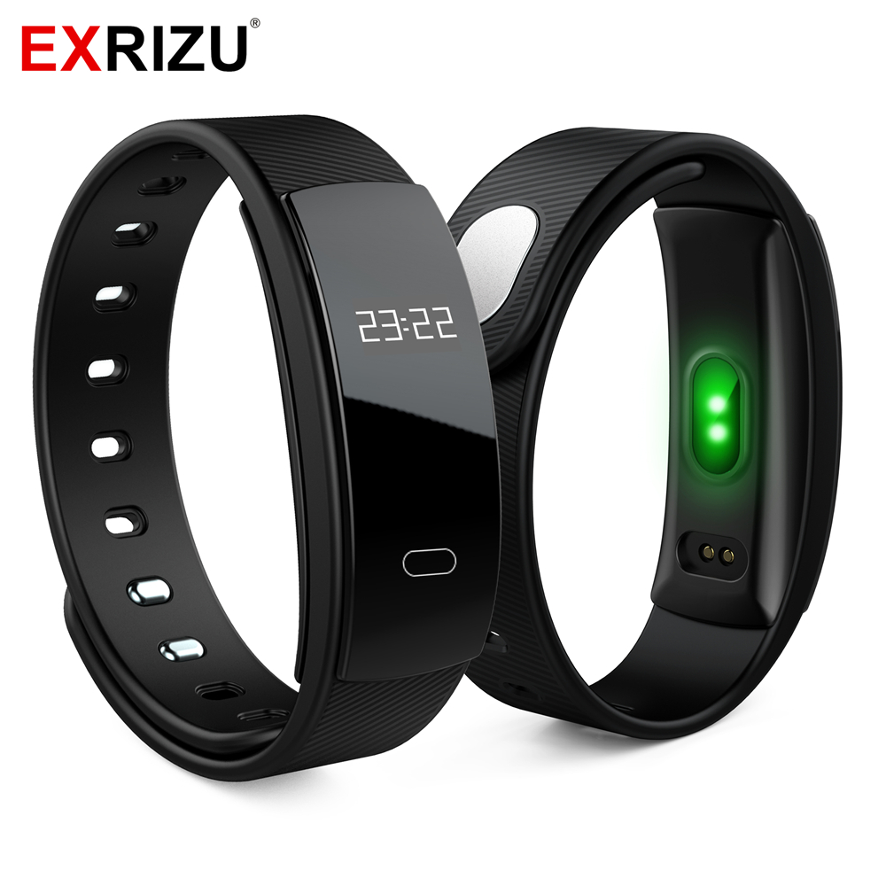 EXRIZU QS80 Blood Pressure Smart Wristband Heart Rate Monitor IP67 Smart Fitness Bracelet Tracker Bluetooth Band for iOS Android m2 plus smart band ip67 fitness tracker wristband heart rate monitor smart bracelet waterproof sport bluetooth for android ios