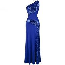 Angel-Fashion, женское длинное вечернее платье с синими блестками на одно плечо, вечернее платье 068