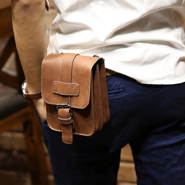 1d059b60f3b Men Retro Oil Wax Crazy Horse Genuine Leather Waist Bag Travel Fanny Pack  Belt Loops Hip Bum Bag Wallet Purses Phone Pouch