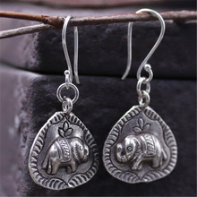 JINSE  Unique Thai Silver 925 Sterling Carved Animal Elephant Drop Dangle Fashion Vintage Earrings For Women Gift Jewelry