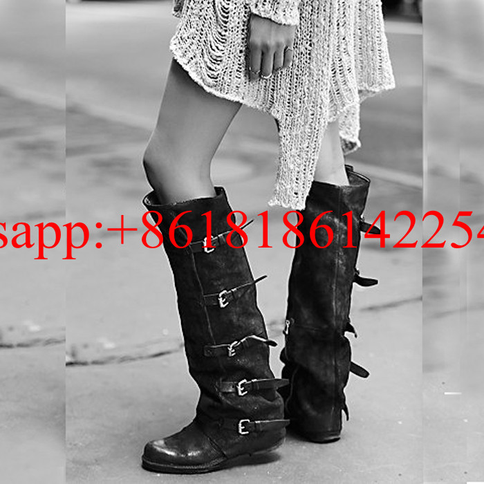 Handsome Female Leather Boots Square Head Knee High Boots Stovepipe Retro Belt Buckle Knight Botas the Old Style Women Boots