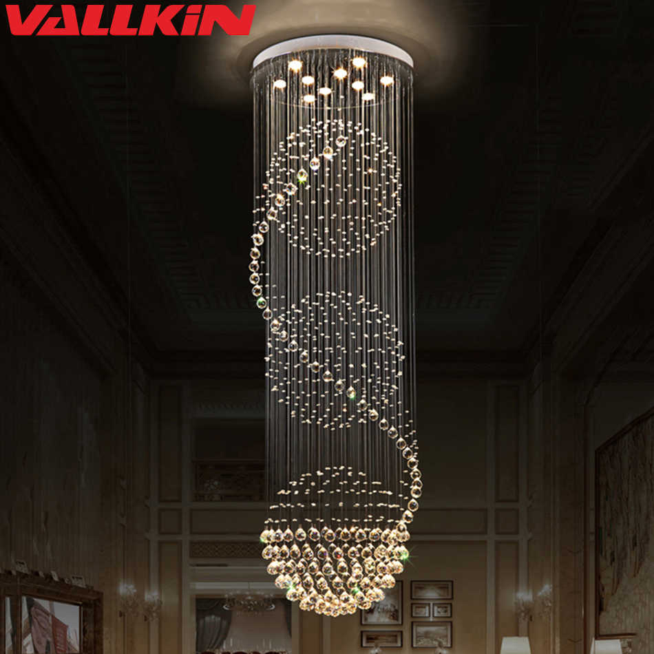 Современный лестничный светильник, хрустальные люстры, светильник, роскошные лампы, винтовой лестничный светильник s Lustre Cristal, люстра, потолочный светильник