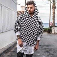 2017 Sweatshirts Men Women Hoodies Loose Hip Hop Street Checkerboard Black White Lattice Winter Thicken Hoodie