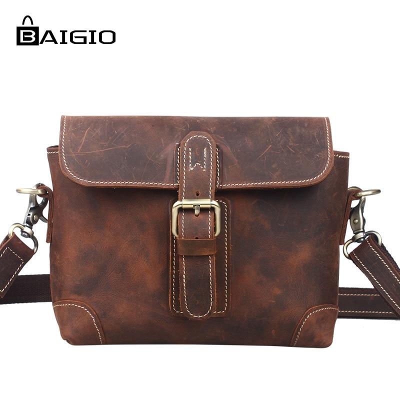 Baigio Men's Messenger Bag Genuine Leather Causual Shoulder Bag Small Crossbody Bag Men Leather Handbag Male Bags