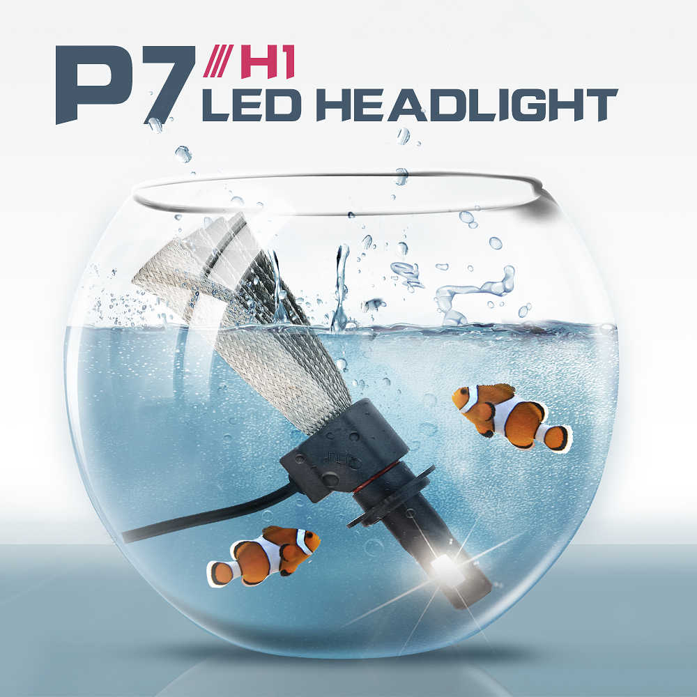 PAMPSEE P7 Car LED Headlight with Braid Radiating 60W 9600LM Lamp Bulb H1 H3 H4 H7 H11 H13 880/H27 9004 HB3 9006/HB4 HB5 Light