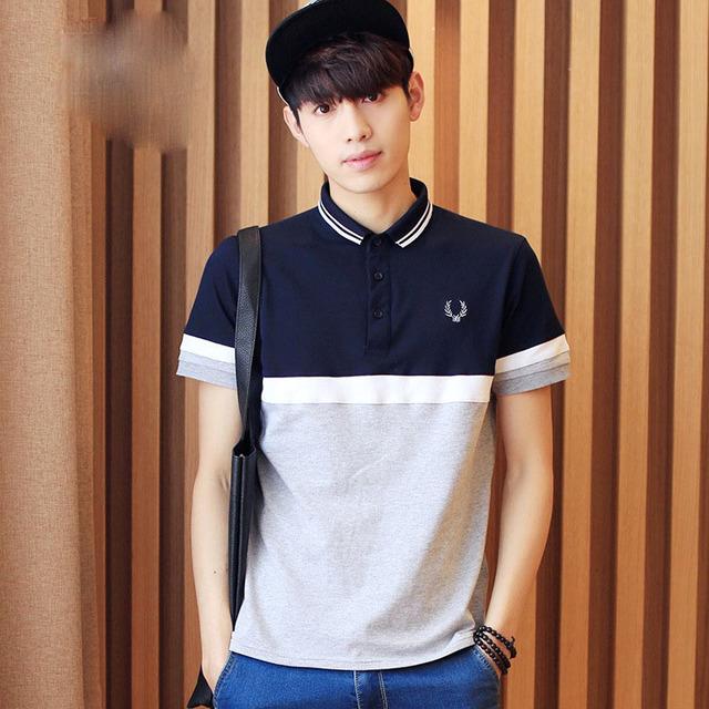 2016 Hombres de La Moda Camisas de Polo Camisa de Polo de Algodón de Manga Corta Ocasional Patchwork Diseñador de la Marca Coreana Cultivando Hombres Tees MTS0041