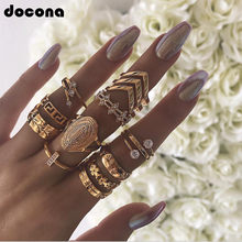 Docona Punk Exaggeration Geometric Crystal Leaf Flower Gold Midi Knuckle Ring Set For Women Hiphop Boho Portrait Rings A20204(China)