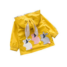 Girls Coat Windbreaker Spring Children's Rabbit Ears Clothing Girls Baby Long-sleeved Shirt Spring and Autumn 1-2-3-4 Years Old(China)