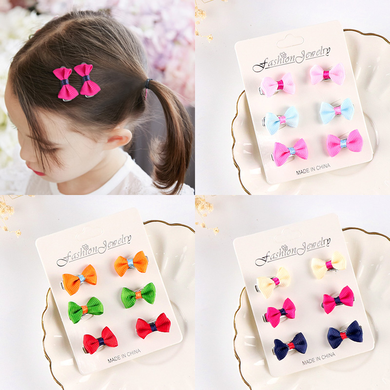6pc New lovely Kids Chiffon butterfly hairpin Chromatic Baby Grils Hairgrips Headdress Hair Clips Barrettes Hair Accessories 1set kawaii kids ribbon hair bows accessories barrette hairpin for child girl hair ornaments clips pin hairclip headdress
