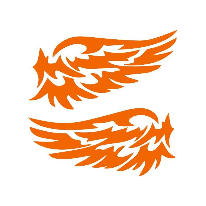 Автомобильные наклейки s 14 см* 7 см, крылья ангела, прекрасные автомобильные мотоциклы, украшения, 3D Светоотражающие Водонепроницаемые, купить 2, сохранить половину, стикер на заказ - Название цвета: Orange