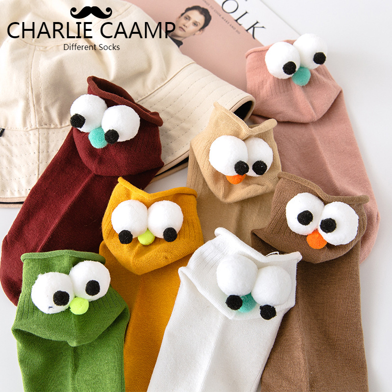 2018 Ladies New Autumn Winter Cartoon Dolls Big Eyes Candy Color Series Women Fashion Trend Loose Creative Cotton   Socks   D111