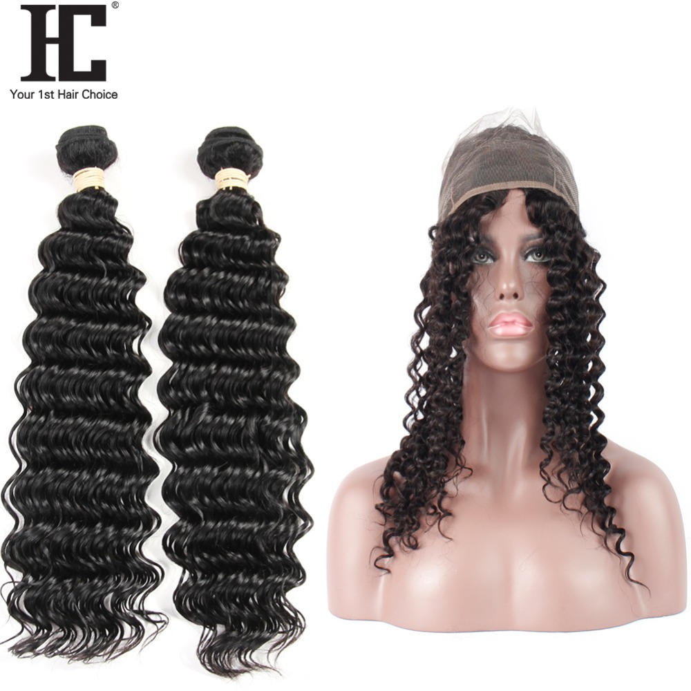 HC Human Hair Deep Wave 2 Bundles With 360 Frontal Pre Plucked Brazilian Hair Weave Bundles 3 PCS Natural Color Non Remy Hair