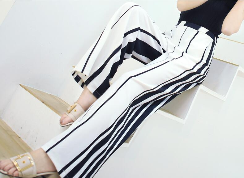 2018 new spring and summer Fashion casual chiffon thin brand female women girls high waist wide leg pants trousers clothes