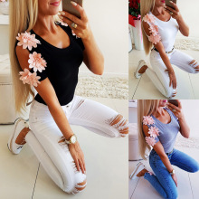 2019 fashion Flower Appliques tunic wome t shirt short sleeve o neck summer new Elegant tops sexy slim vintage Patchwork clothes