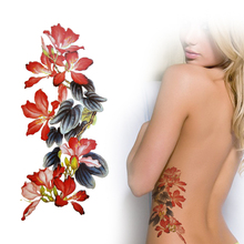 Realistic Temporary Tattoos Chinese Ink Brush Painting Art Tattoo Sticker Flower Tattoos Waterproof YM-P09