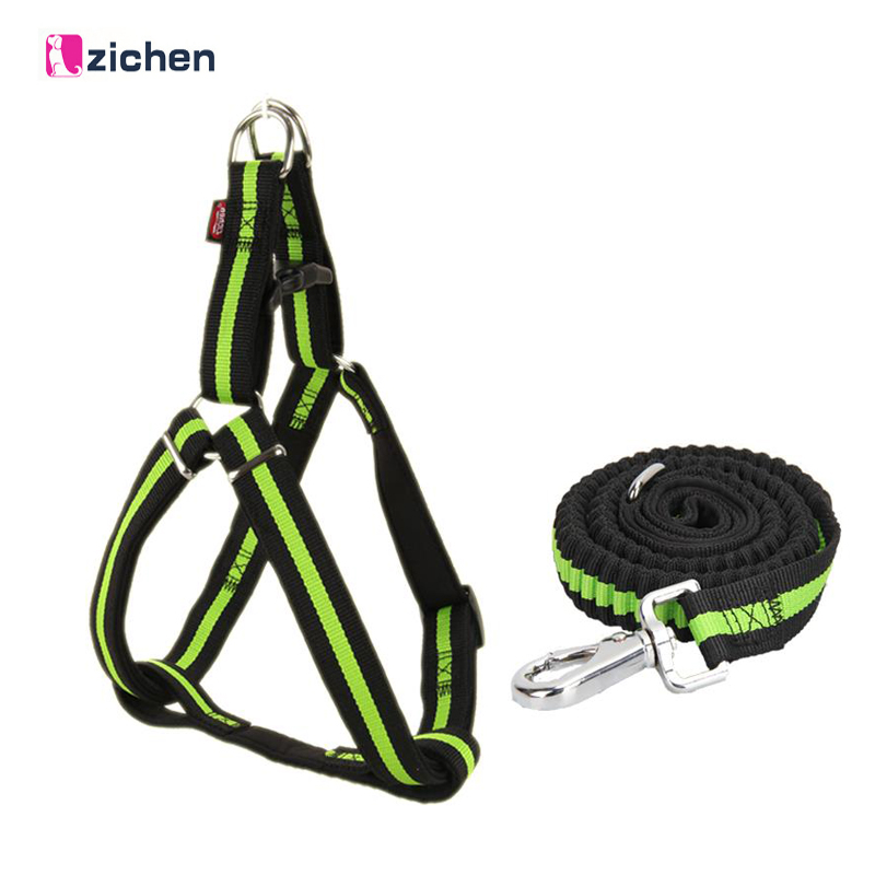 Zichen Dog Harness Leash Elastic Nylon Adjustabl Diving Fabric Lining Soft Durable Large Medium For Dog Harness Leash 6 Color