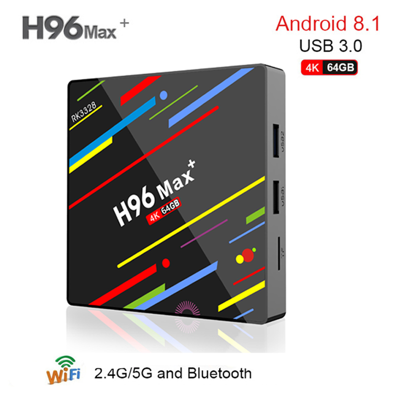H96 MAX plus + Android 8.1 TV Box 4GB RAM 64GB ROM Set Top Box RK3328 2.4G/5G Wifi 4K H.265 Media Player support iptv h96 max android 7 1 tv box 4gb ram 32gb rom set top box rk3328 2 4g 5g wifi bluetooth 4 0 4k media player iptv smart tv box