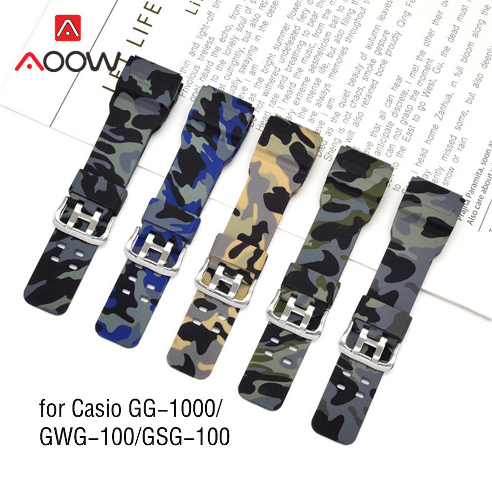 Camo Printing Watchband for Casio G-Shock GG-1000 / GWG-100 / GSG-100 Men Sport Waterproof Bracelet Band Strap Watch Accessories image