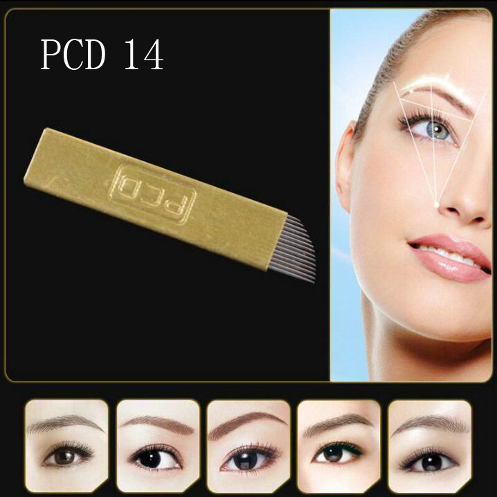 PCD14 Pin 50pcs Permanent Makeup <font><b>Eyebrow</b></font> <font><b>Tatoo</b></font> Blade Microblading Needles blade For 3D Embroidery Manual Tattoo <font><b>Pen</b></font> hard blade image