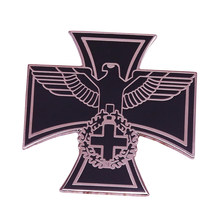 Bahasa Jerman Eagle Pin Cross Bros Perak Hitam Logam Badge Bahasa Jerman Reich Perhiasan Federal Eagle Kerah Pin Pria Mantel Kemeja Aksesoris(China)