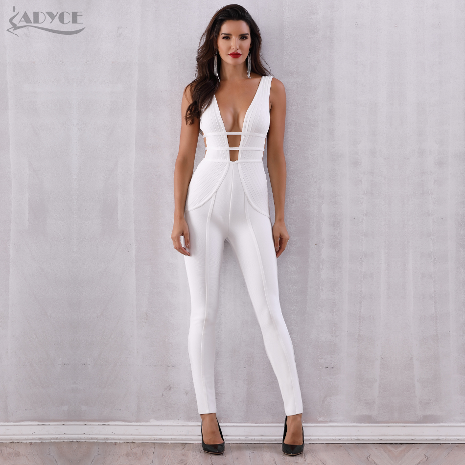 Adyce 2019 New Summer White Bandage Jumpsuit Rompers Sexy Sleeveless Deep V Neck Tank Hollow Out