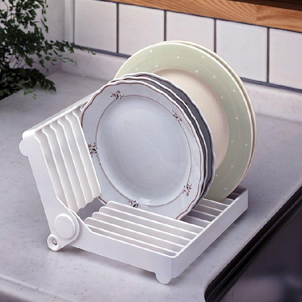 White Folding Plastic Dish Plate Storage Rack Kitchen Dish Drying ...