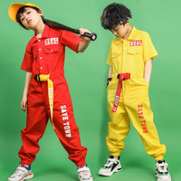 Children's Costumes for Dancing Kids Hip Hop Clothing Girls Boys Red Yellow Summer Overall Jumpsuit Stage Jazz Street Dance Wear