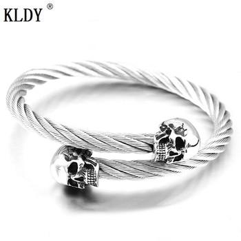 e1ee88ae7654 KLDY vikingo skul pulseras pulsera de acero inoxidable brazalete para  hombres calavera Cable brazalete Norse vikingo gótico calidad joyería para  hombres