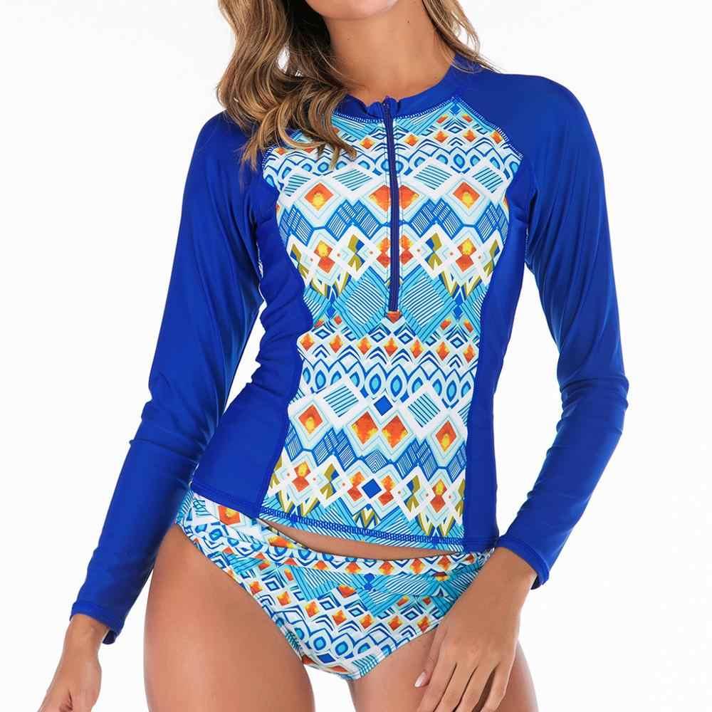 2019 Lengan Panjang Ruam Penjaga Wanita Surf Baju Renang Floral Daun One Piece Swimsuit untuk Menyelam Renang Suit K Berlaku Pakaian Selam 4as