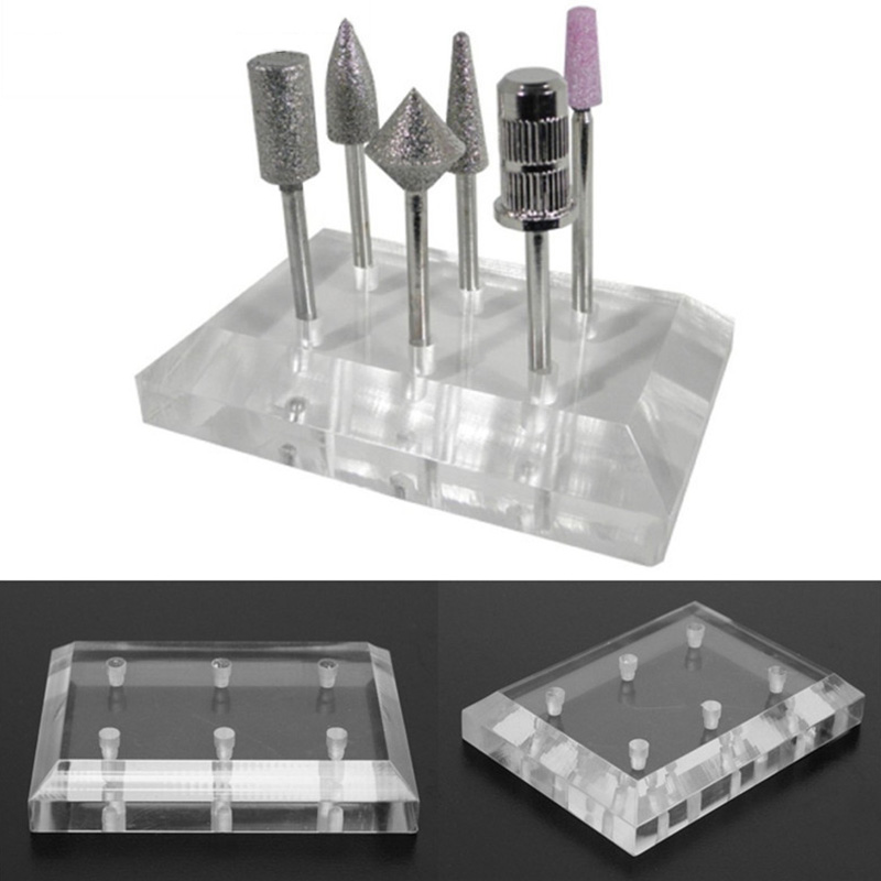 1Pc Clear Nail Drill Bit Displayer Stand Holder Acrylic 6 holes Manicure Nail Art Exhibition Tools