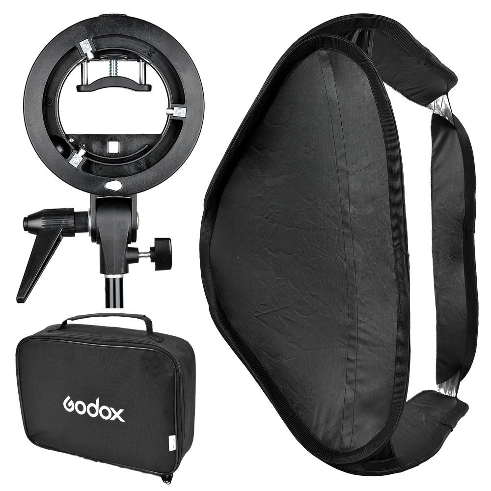 Godox Flash Diffuser S-Type Speedlite Bracket Comet Mount Holder + 80 x 80cm Softbox for Studio Photography