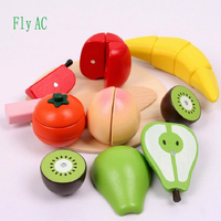 Fly AC Wooden Kitchen Toys Cutting Apple pear and banana Fruit Kids Wooden baby early education food toys