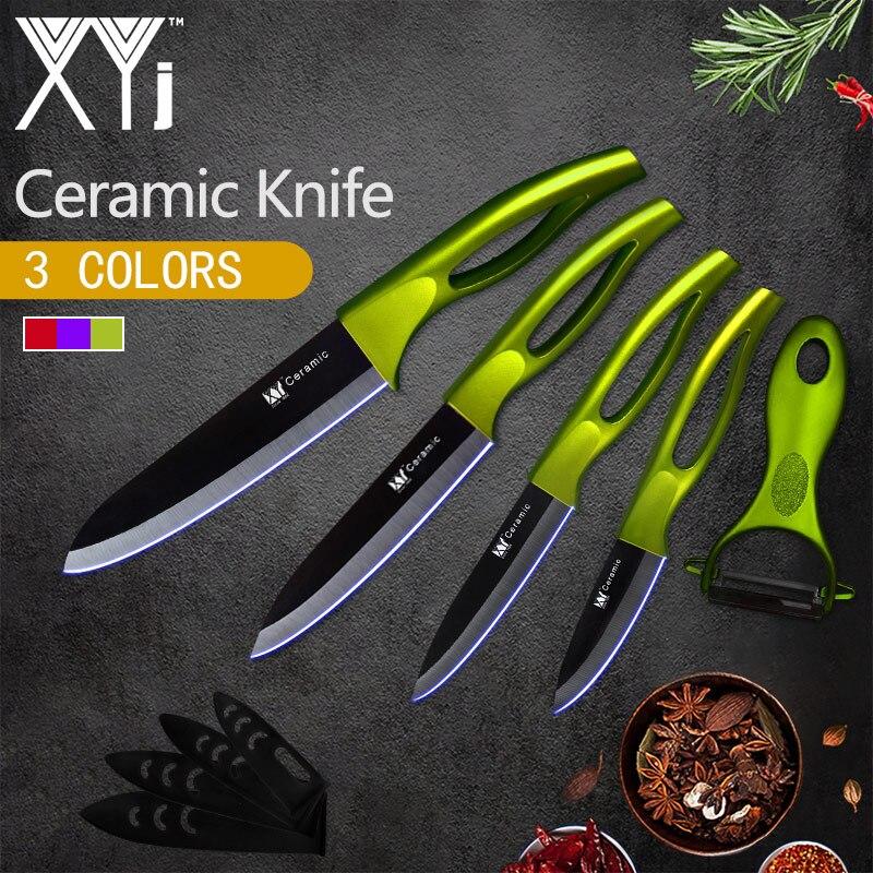 XYj Cuisine Couteau En Céramique Outils de Cuisine Set 3 4 5 6 pouces + Peeler Gratuit Multi-Motif Lame Manche Creux Couteau Cuisine Outils