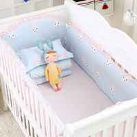 8 pcs/set Color Flower Crib Bed Linens Kit Baby Cotton Bedding Set Include Cot Bumpers Bed Sheet Quilt with Filling Pillowcase