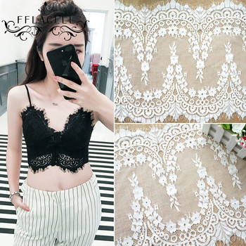 FFLACELL 3 Meter Big Eyelashes Lace Trim Flower Black White Lace Fabric Handmade DIY Clothes Accessories Width 34.5CM diy crop top