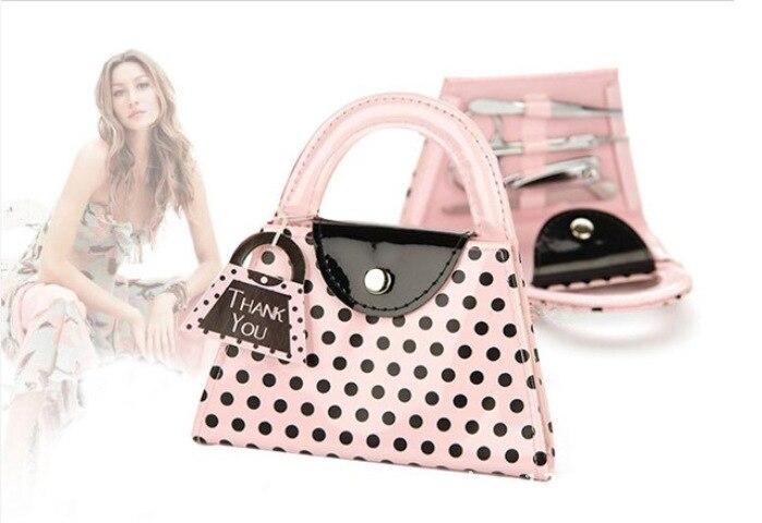 bomboniera rosa polka dot borsa manicure set nuziale doccia favore - Per vacanze e feste