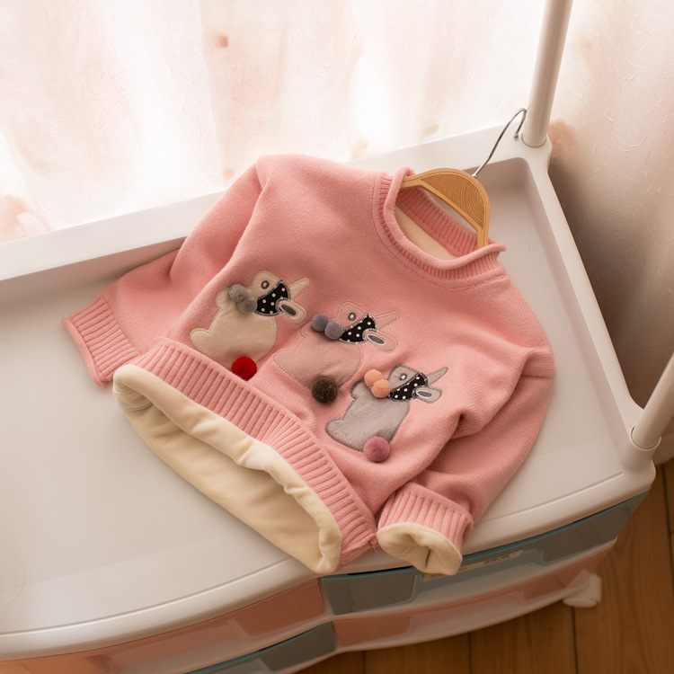New 2018 spring and autumn children's long-sleeved sweater girl baby cartoon rabbit cute fashion sweater kids girls sweaters girls autumn dress velvet sweater 2018 new children s medium and large penguin long sleeved sweater