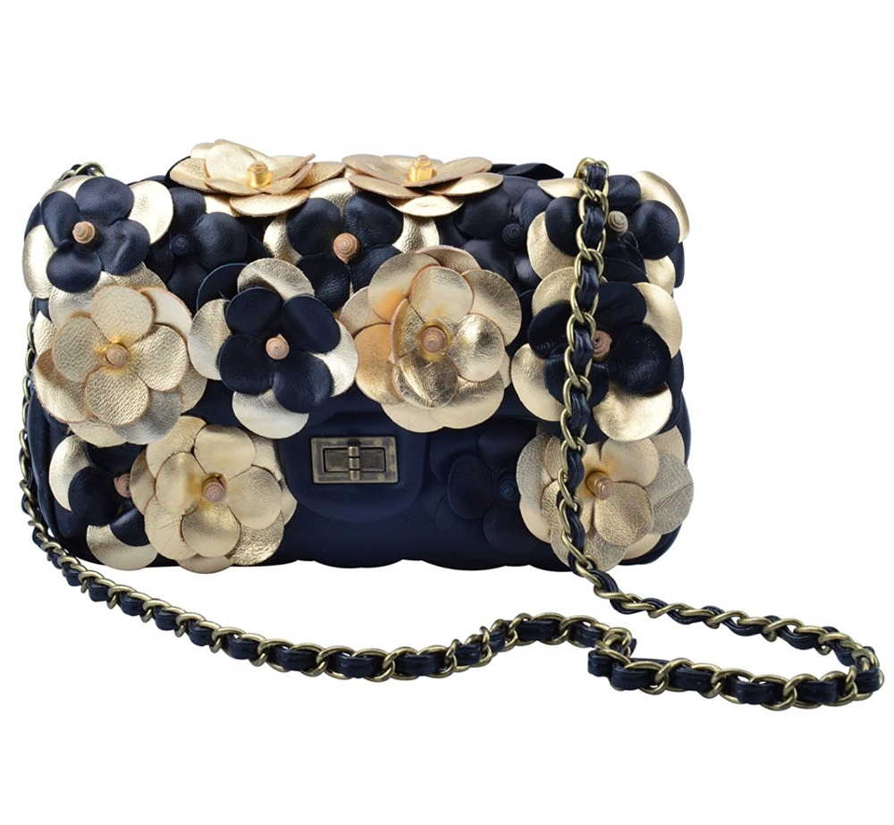 Women's Genuine Leather Flower Quilted Chain Strap Handbags Shoulder Bag Evening Bags