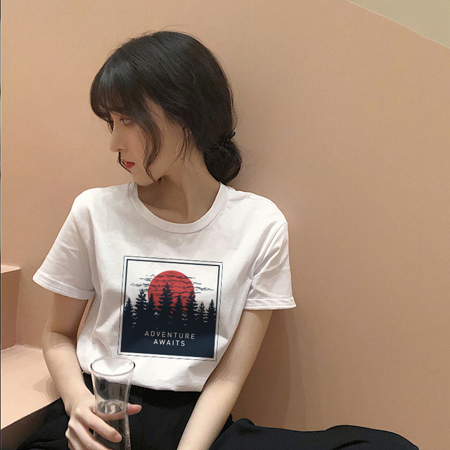 Women's fashion cartoon printed letter short-sleeved casual T-shirt shirt 4