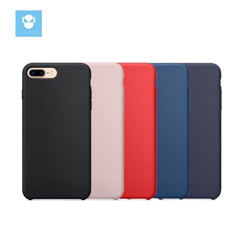 FSHANG for iphone 7 Case Original Liquid Silicone for iphone 7 7Plus Plus Case Luxury brand Cute Cover Coque Black Phone Case