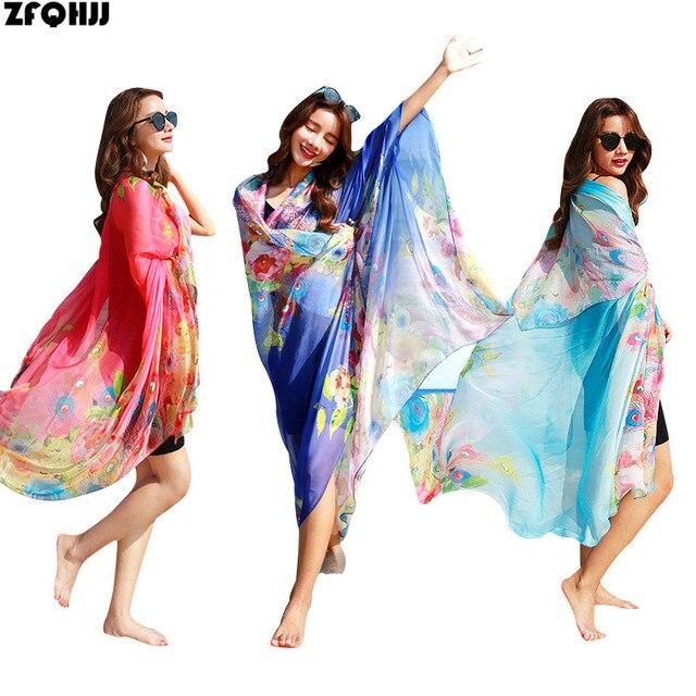 baba59bbd7 ZFQHJJ 195x145cm 2018 New Women Chiffon Scarf Shawl Wrap Pareo Sarong Dress  Large Travel Beach Bikini Cover Up Scarves Plus Size