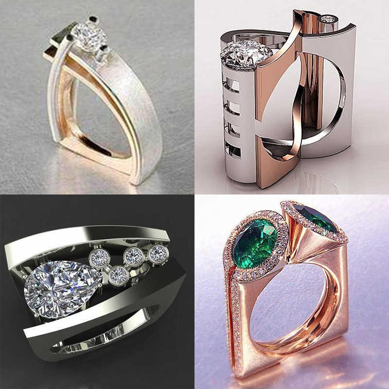 หรูหราแฟชั่นผู้หญิง Zircon แหวนสไตล์ที่ไม่ซ้ำกัน Silver Gold แหวนหมั้นแหวนแต่งงาน Vintage