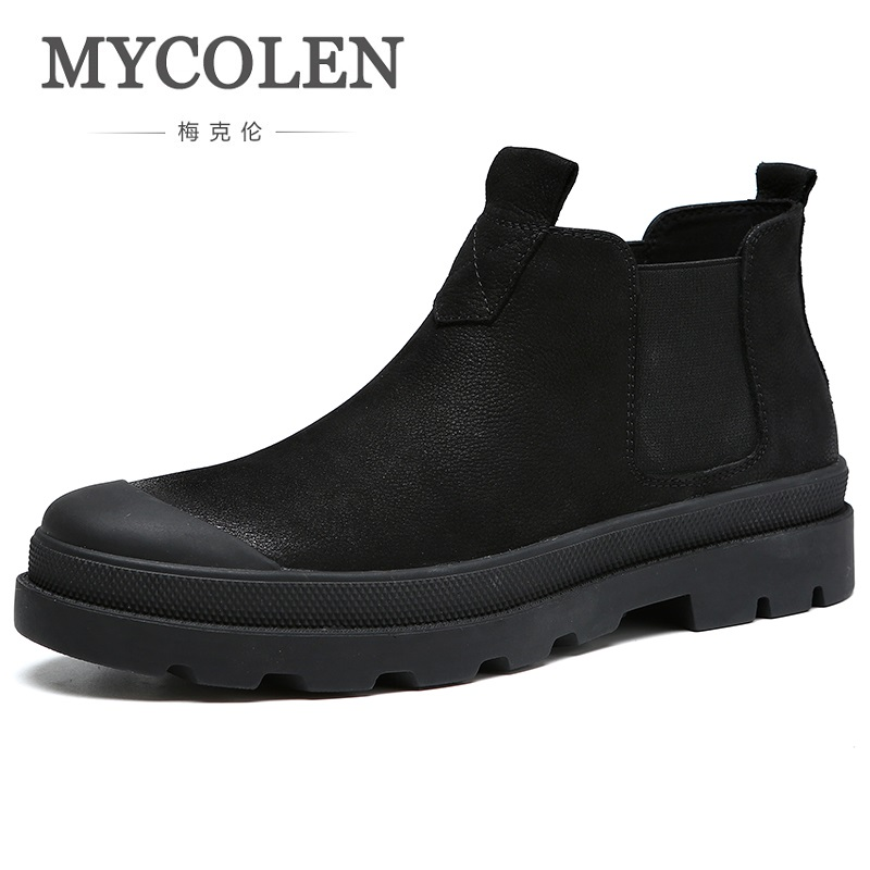 MYCOLEN 2018 Autumn Spring New Fashion Men Chelsea Boots Genuine Cowhide Leather Men Winter Boots Handmade Ankle Shoes mycolen spring autumn men genuine leather chelsea boots vintage pointed toe ankle outdoor boots wear resistant male shoes
